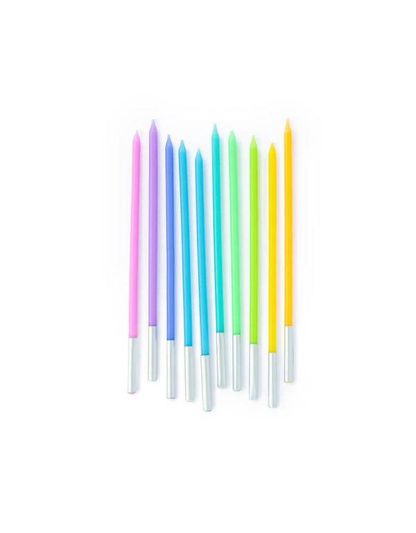 Pastel Rainbow Birthday Slim Candles in Pink, Purple, Blue, Light Blue, Green, Lime, Yellow and Orange colors for for any rainbow or unicorn themed celebrations