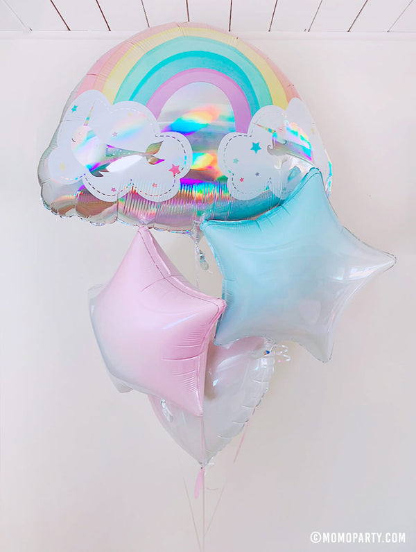 "Anagram 28"" Holographic Magical Rainbow Unicorn And Narwhal Foil Balloon with Party Brands 18"" Junior Gradient Pastel Pink Star Shaped Foil Balloon and Party Brands 18"" Junior Gradient Pastel Pink Heart Shaped Foil Balloon and Party Brands 18"" Junior Gradient Pastel Blue Star Shaped Foil Balloon, a pastel-colored bouquet for the ultimate dreamy, shine and sparkle, An amazing way to decorate a modern pastel rainbow themed party, unicorn birthday, party for girls or celebrate someone special!"