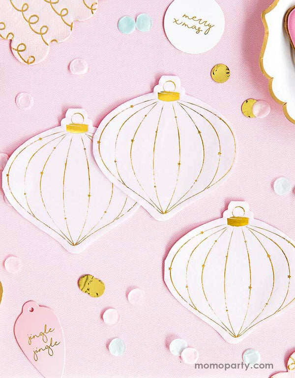 Pink-Christmas-Ideas-by Momo Party with Party Deco Christmas Ornament-Napkins-on a Pink background with festive pastel and gold confetti