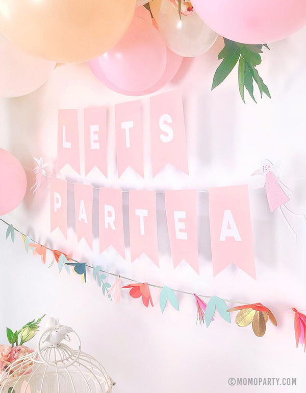 Pink Letter banner with customized with Lets Partea