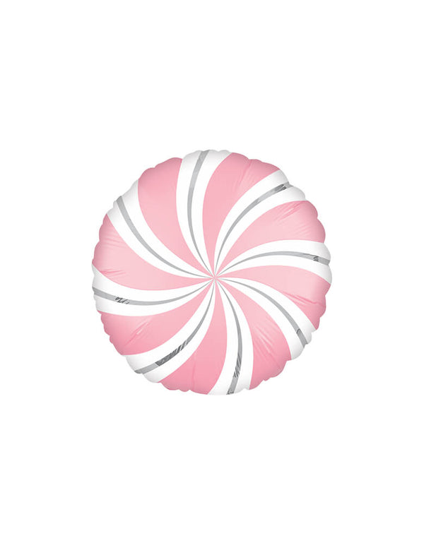 Pink-Satin-Candy-Swirls-Mylar-Balloon for a Christmas Party