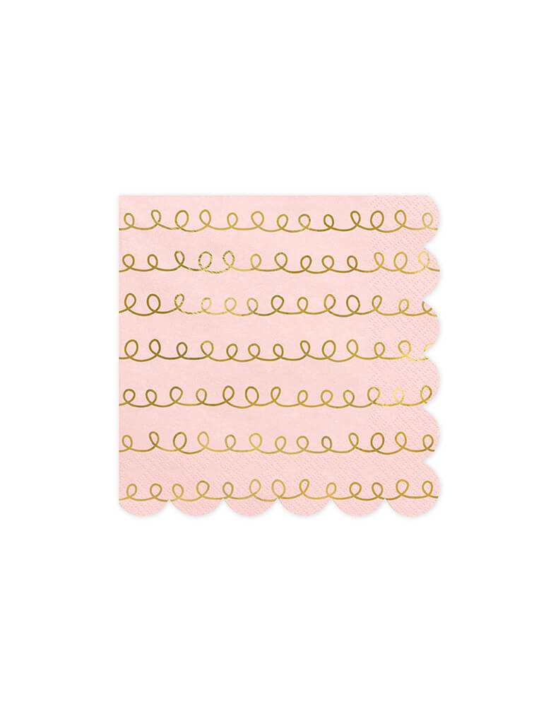 "Party Deco 6.3"" Pink and Gold Tracking Pattern Large Napkins"