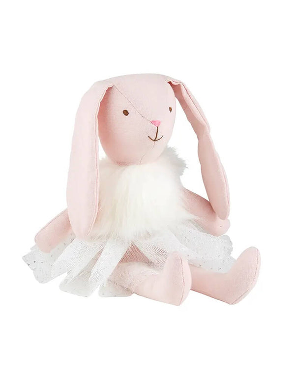 Santa Barbara Design Studio - Pink Bunny Doll, featuring a pastel pink bunny doll With glitter dot tutu topped with a fluffy white vest