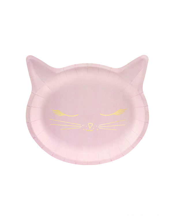 Party Deco Pink Cat Plates. Featuring a cat head shaped die cut plate, with gold foil details. Perfect for Girls Cat Birthday Party Pack For 6 People, Cat Birthday Decorations, Kitty cat birthday party, Girls sleepover party. Kitty Cat Birthday Party