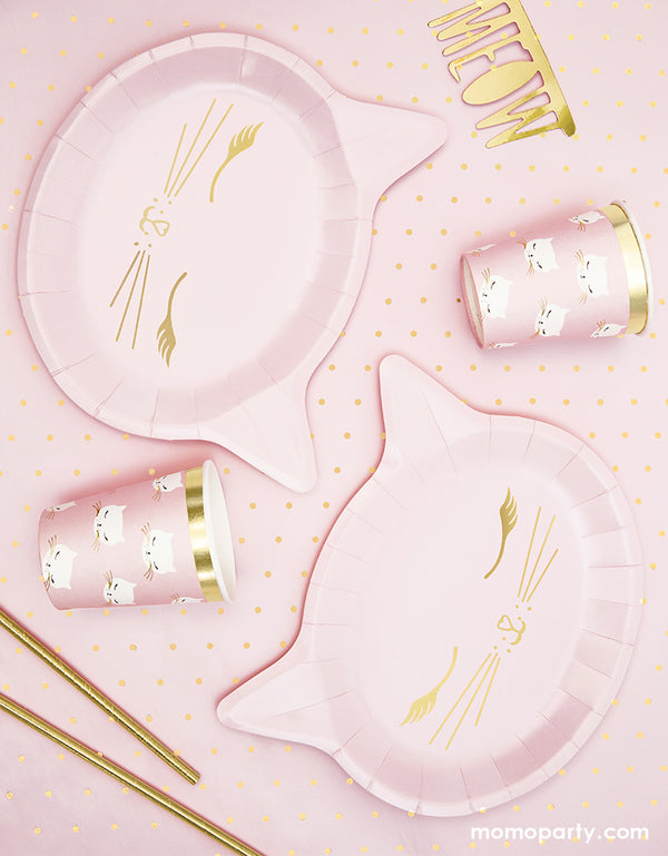 Pink kitty Cat party table idea with Party Deco Pink Cat Plates and cups, gold straw, Meow gold letter confetti on a pink dots tablecloth. These Cat plates featuring a cat head shaped die cut plate, with gold foil details. These cute modern designed party wares are perfect for Girls Cat Birthday Party Pack For 6 People, Cat Birthday Decorations, Kitty cat birthday party, Girls sleepover party. Kitty Cat Birthday Party