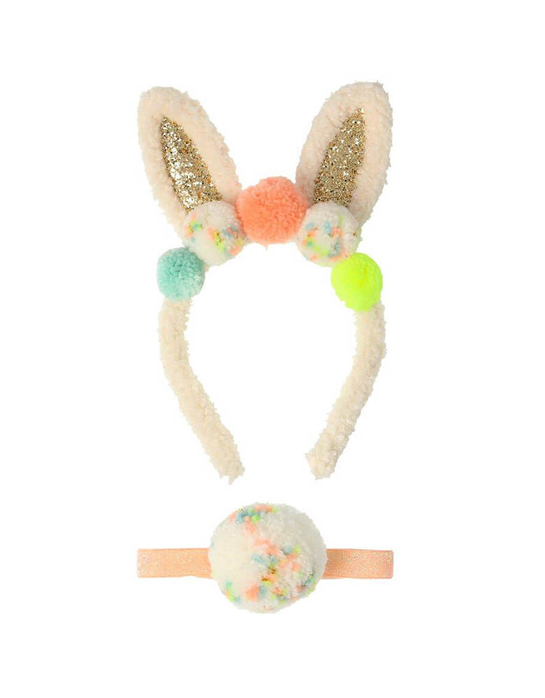 Meri Meri Pompom Bunny Ear Dress Up, Featuring a headband with glittery ears and lots of colorful pompoms, and the cutest fluffy bunny tail. Perfect as a gift for the Easter basket, or simply to add to a dressing up box for fun play at any time!