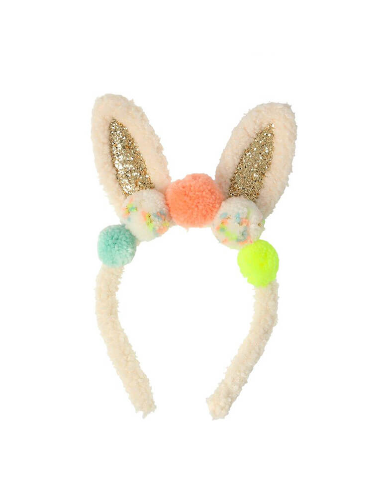 Meri Meri Pompom Bunny Ear Dress Up, Featuring a headband with glittery ears and lots of colorful pompoms, Perfect as a gift for the Easter basket, or simply to add to a dressing up box for fun play at any time!