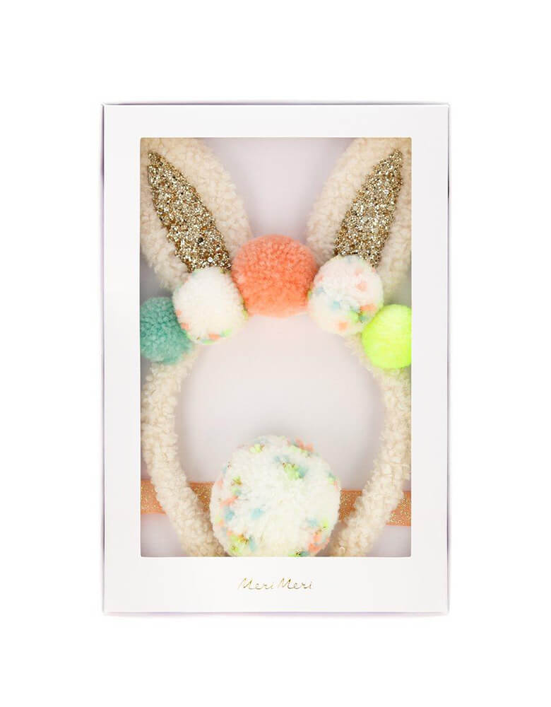 Meri Meri Pompom Bunny Ear Dress Up Set in a nice gift box, Perfect as a gift for the Easter basket, or simply to add to a dressing up box for fun play at any time!