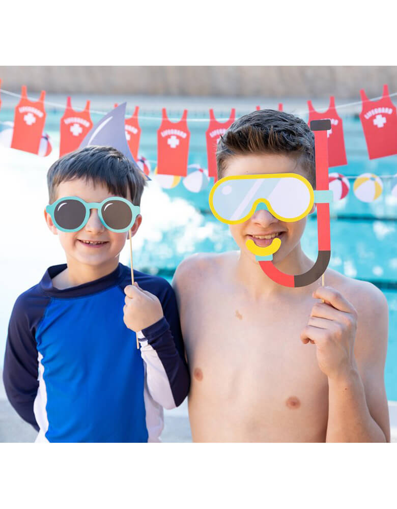 boys with Pool Party Photo Props