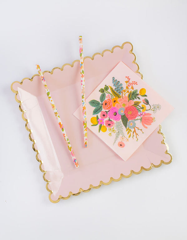 beautiful Floral Party Straws with napkin and pink plate