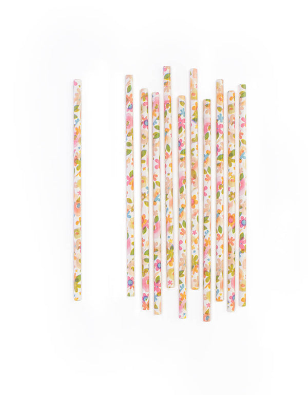 Eco-Friendly Pretty Floral Paper Party Straws