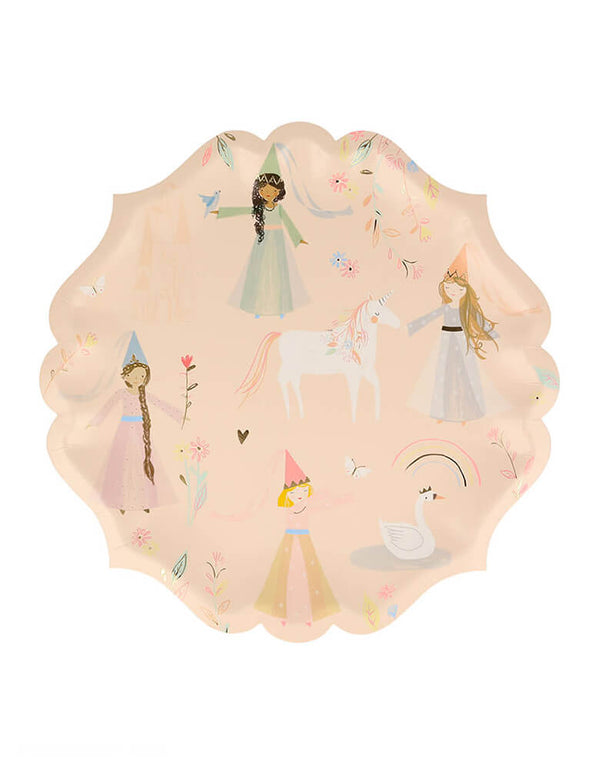 Meri Meri Princess Large Plates. These beautifully illustrated plates featuring pretty princesses, a unicorn, swan and castle, and have a delightful curved border. They are the perfect way to add royal style to your party.