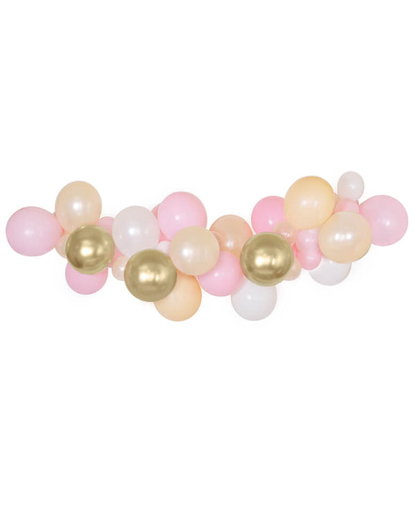 "Qualatex Assorted 11"" (large) & 5"" (small) latex balloons in Pearl white, Peal peach, blush, chrome gold, pink colors. Balloon arch, wall decoration for your princess-themed Birthday party, Royal Princess party, sweet pink morden party celebration"
