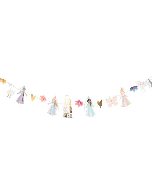 Meri Meri Princess Garland, 12 feet long, Feathering 14 pennants, which are foiled and printed on both sides, including princesses, a unicorn, flowers, a butterfly, a magical castle, gold hearts and a swan.