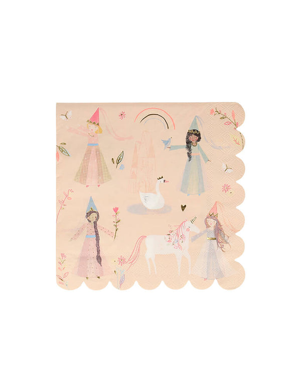 Meri Meri Princess Large Napkins. These darling Practical and stylish napkins, featuring pretty princesses, a unicorn, swan and castle, and have a sensational scallop edge.