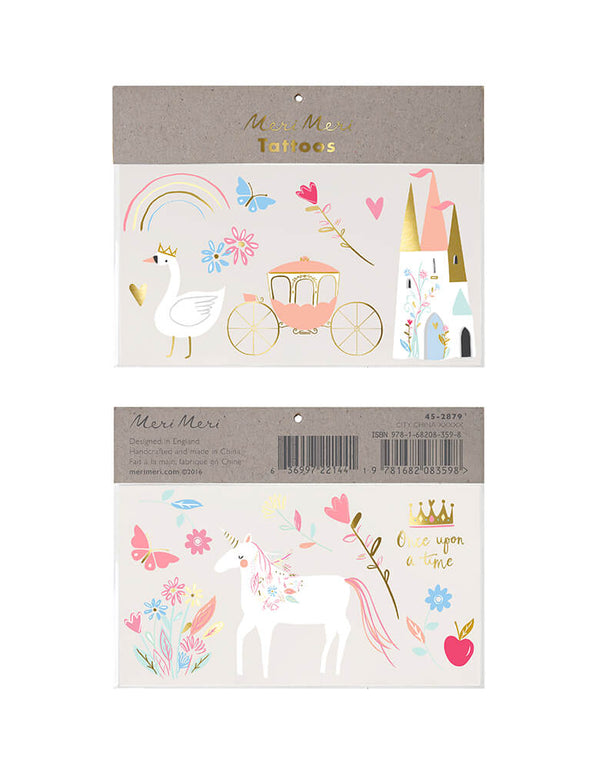 Meri Meri Princess Large Temporary Tattoos,  featuring 2 sheet of design of princess castle, princess carriage, swan, a dreamy unicorn with flores, butterflies, rainbow, roes, heart, princess crown, and apple, printed with shiny gold foil for a stylish effect. These temporary tattoos are an amazing activity for a princess party or a rainy day. They're also fantastic to pop into party bags as a gift for your guests.