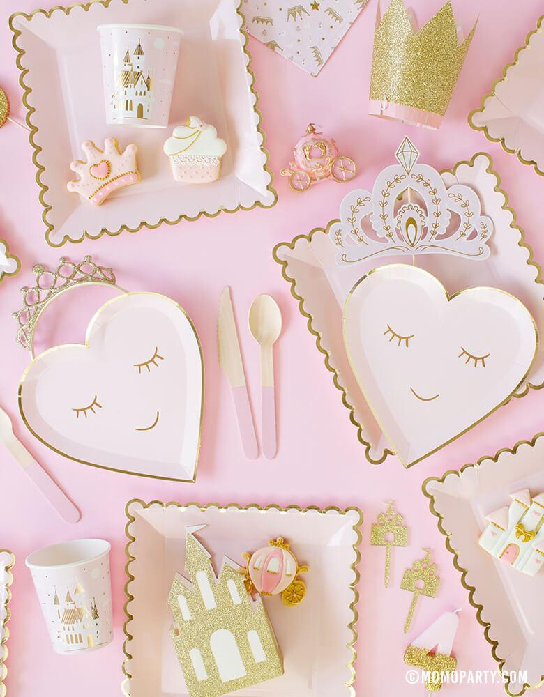 Sweet Princess Party tableware with Meri Meri Blushing Heart Small Plates, My mind's eye's blush large plates, castle cake topper, princess themed cookies, pink wooden cutlery, daydream society castle cups, Pink Gold Tiara