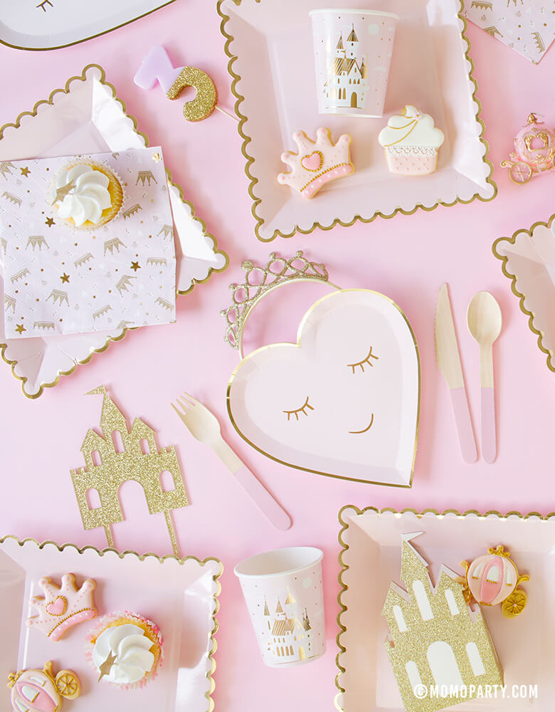 Sweet Princess Party tableware with Meri Meri Blushing Heart Plates, My mind's eye's blush large plates, castle cake topper, princess themed cookies, pink wooden cutlery, daydream society castle cups, castle napkin, pink #3 candle