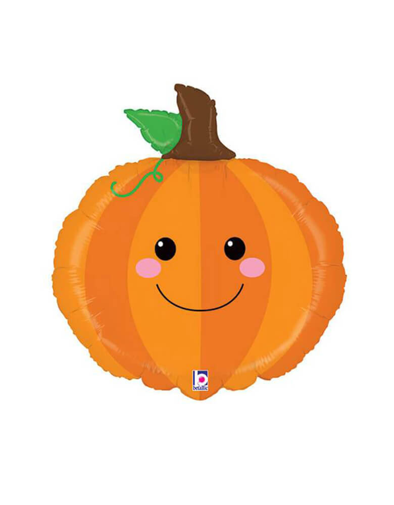 Betallic 29' Fall-PRODUCE-PAL-PUMPKIN Foil Mylar Balloon feathering a  pumpkin shape with happy face for a farm themed birthday, happy halloween party, fruit party, thanksgiving party