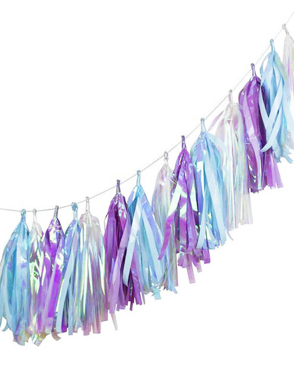 Talking Tables_10 ft_Purple, Blue, Silver Iridescent Tassel Garland