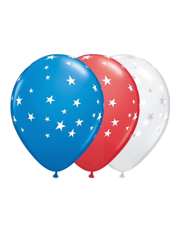 "Qualatex 11 inch BIG STARS - DARK BLUE, RED & DIAMOND CLEAR. Celebrate your stars themed party with these 11"" round Big Stars - Dark Blue, Red & Diamond Clear printed latex balloons. The perfect balloons for your stars party Patriotic"