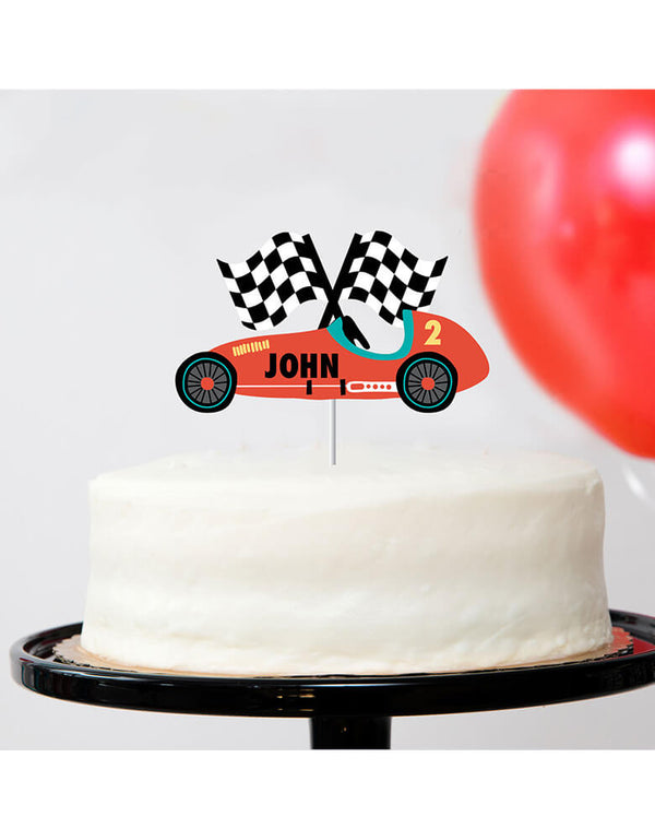Merrilulu's Custom Race Car Cake Topper on a birthday cake for a kid's race car themed party