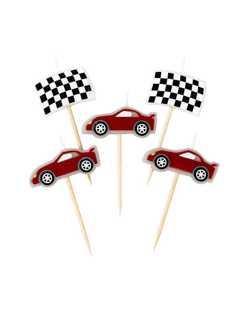 Talking Table Race Car Birthday Candle Set with Race Cars and Flag design