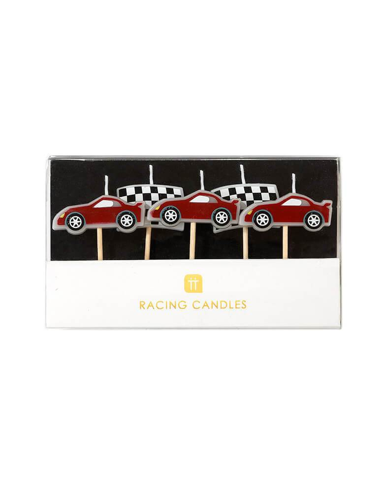 Talking Table Race Car Birthday Candle Set with Race Cars and Flag design in the Package