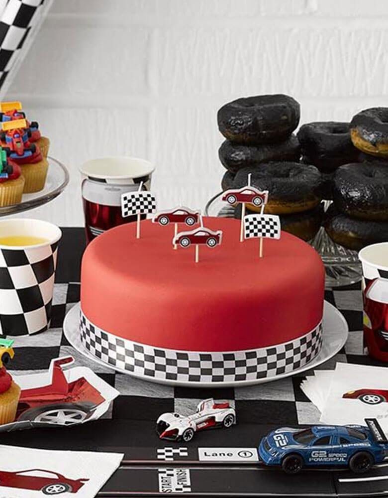 Birthday Cake with Talking Table Race Car Birthday Candles for a Boy's Car themed birthday Party