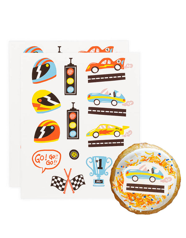 Race Car Go! Go! Go! Edible Decorating Stickers