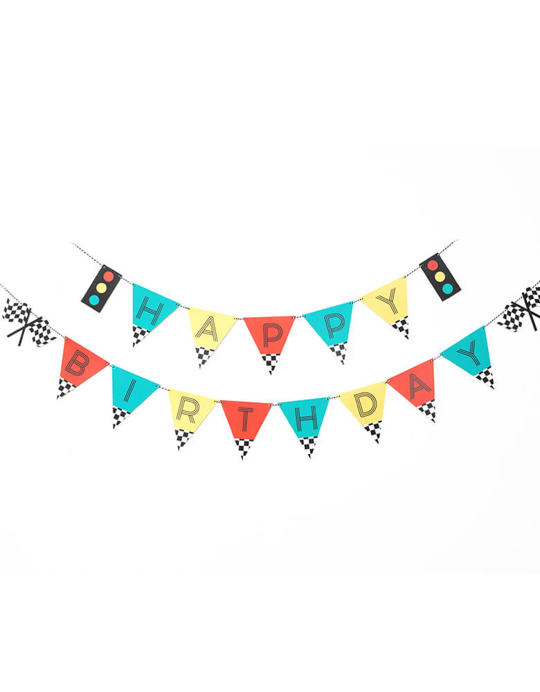 Merrilulu Race Car Happy Birthday Banner Set with color flags and checkered race car flag designs