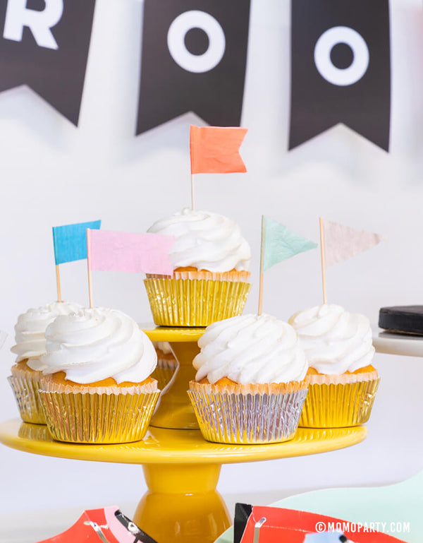 Close up shoot of Cupcakes with Neon Confetti-Flag-Cupcake-Kit