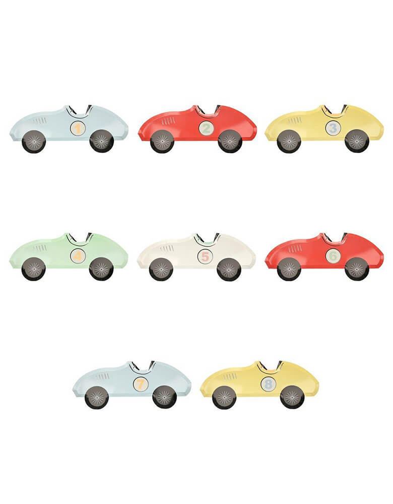 "Get your engines ready because these racecar plates are ready to go. > Includes 8 plates in 5 colors> Size: 15.5"" x 6.25 ... Meri Meri · 15.5 inches · 8 piece set"