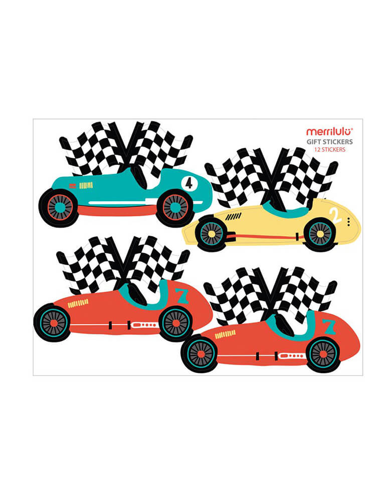 Merrilulu - Race Car Gift Bag Stickers. Featuring vintage red, blue and yellow race car with checkerboard flag design. Set of 12 stickers (in 3 sheets). Each set comes with a total 12 stickers, ready to be placed on the goodie bags. Each gift tag is designed with a writing space for a name or note.