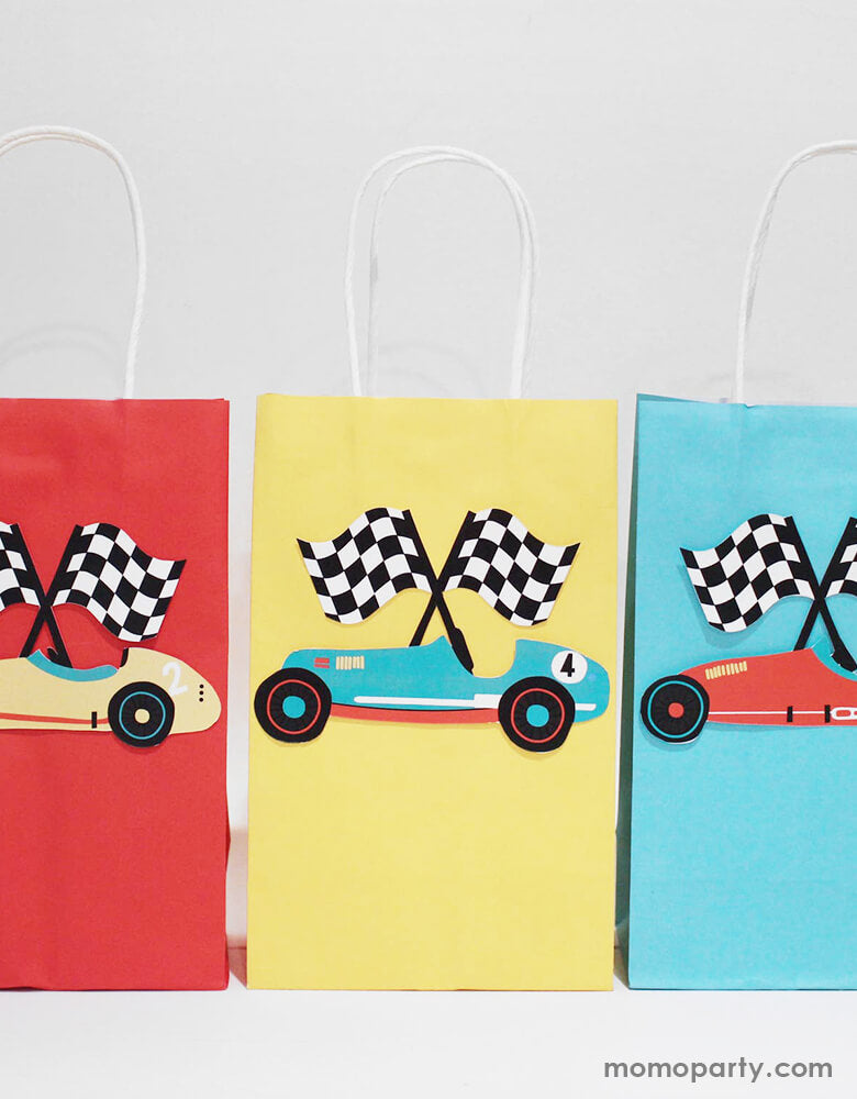 Party favor bags with Merrilulu - Race Car Gift Bag Stickers. These Gift bag stickers featuring vintage red, blue and yellow race car with checkerboard flag design. peel and stick on a paper bag, ready for a modern look race car party