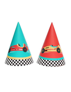 Merrilulu - Race Car Party Hats. Pack of 12, in 2 styles, featuring red and vintage blue color with race car design.