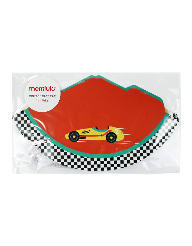 Merrilulu - Race Car Party Hats. packed in a clear bag. Pack of 12, in 2 styles, featuring red and vintage blue color with race car design. Simple assembly required