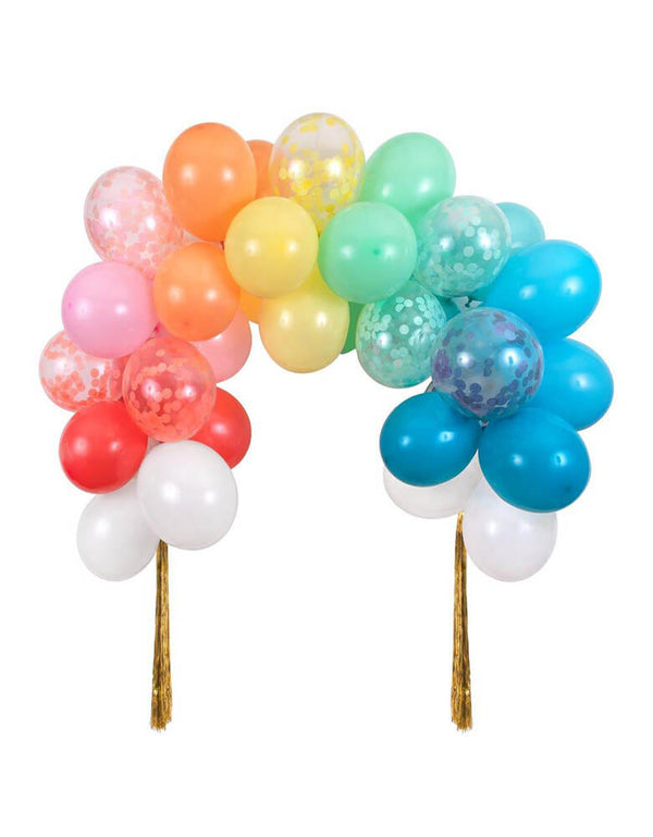 Meri Meri Rainbow Balloon Arch Kit with multicolored balloons, confetti balloons, and gold tinsel
