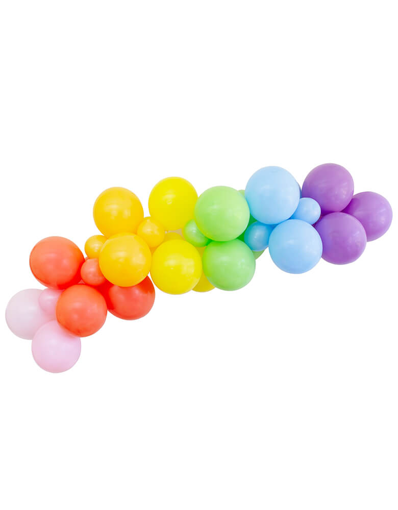 "Rainbow Colored Balloon Garland, Assorted 11"" (large) & 5"" (small) Rainbow themed latex balloons in pink, coral, yellow,lime, light blue and purple colors, Wall decoration, Backdrop decoration, Party decoration for Rainbow themed birthday Party, Pride Party. Made in the USA"