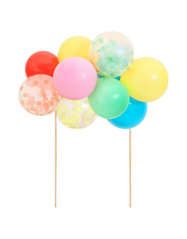 Meri Meri's Rainbow Balloon Cake Topper Kit with mini multicolored latex balloons and confetti balloons