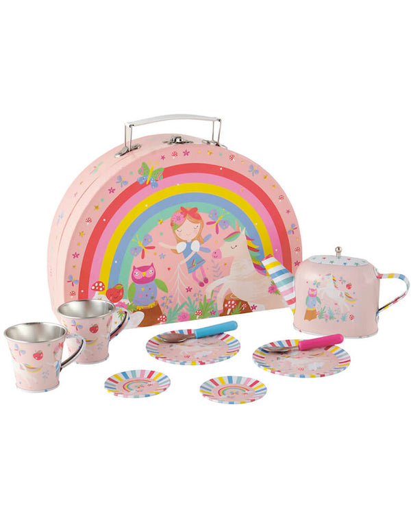 Floss & Rock - Rainbow Fairy Tin Tea Set. includes 2 teacups & saucers, 2 spoons, 2 plates and a lidded teapot. Your little fairy will surely love this adorable rainbow fairy tin tea set featuring their favorite designs including fairies, unicorns, butterflies, owls and more!