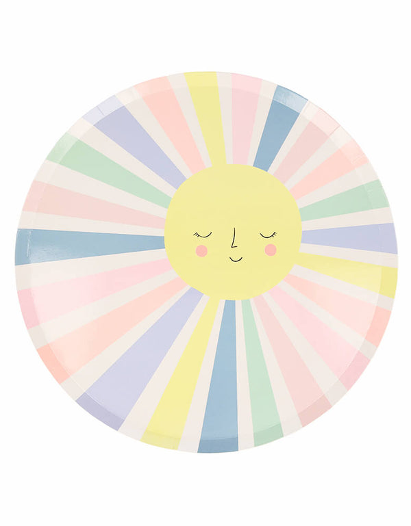 meri Meri Rainbow Sun Dinner Plates. They feature a smiling sun with lots of colorful rays. They are perfect for any celebration, including baby showers or birthdays.