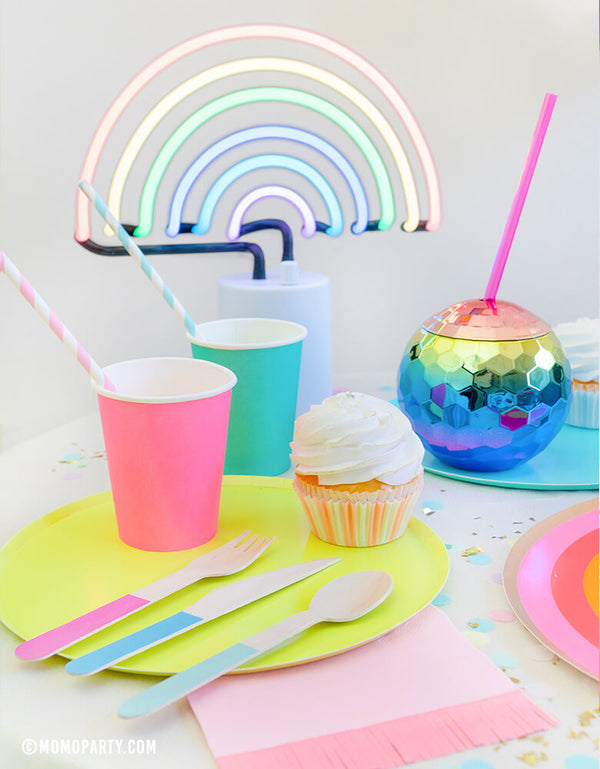Rainbow party dessert table look with Oh happy day rainbow paper cups, Rainbow color Large paper plates, Blush Rainbow Ombre Disco Ball Tumbler, Hyper Tropical Wooden Cutlery Set, StudioPep Cupcake Artisan Confetti