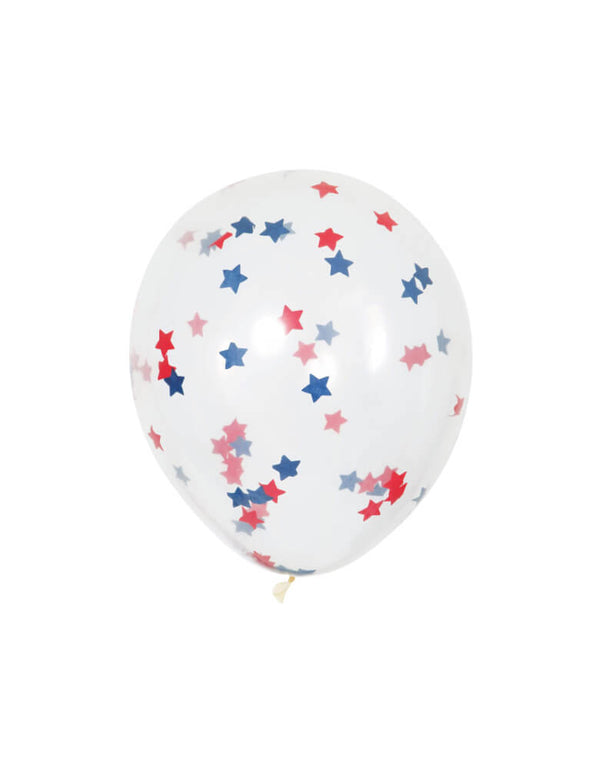 "Unique balloon - 16"" Red And Blue Star Confetti Balloon Mix. Bring these fun 16"" clear balloons filled with red & blue star confetti to your patriotic celebration!"