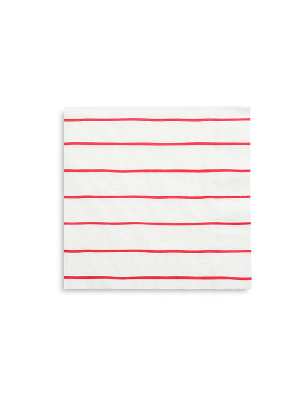 "Daydream Society Frenchie 6.5"" Red Striped Large Napkins"