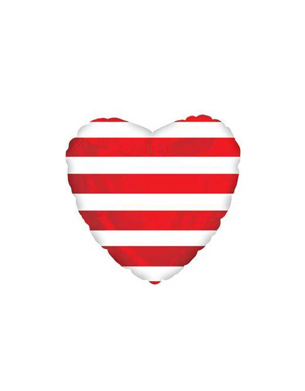 Junior Red Stripes Heart Shaped Foil Balloon
