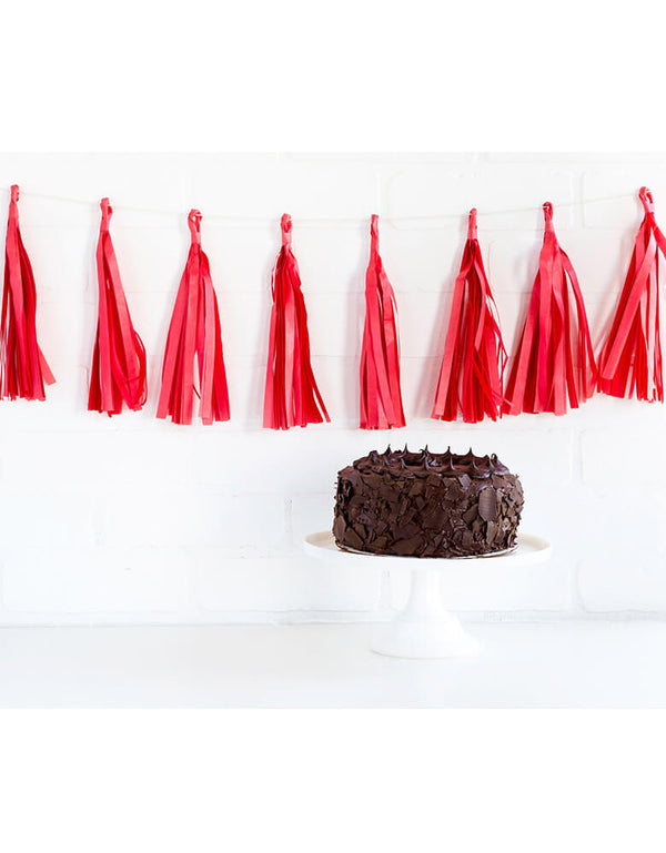 My Mind's Eye 8 ft Red Tassel Banner hung on a white brick wall beyond a chocolate birthday cake on a white table