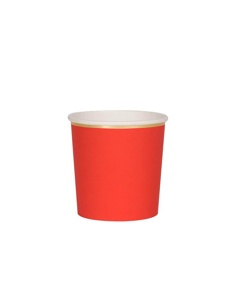 Meri Meri 8.8 oz Red Tumbler Cups with gold foil edge