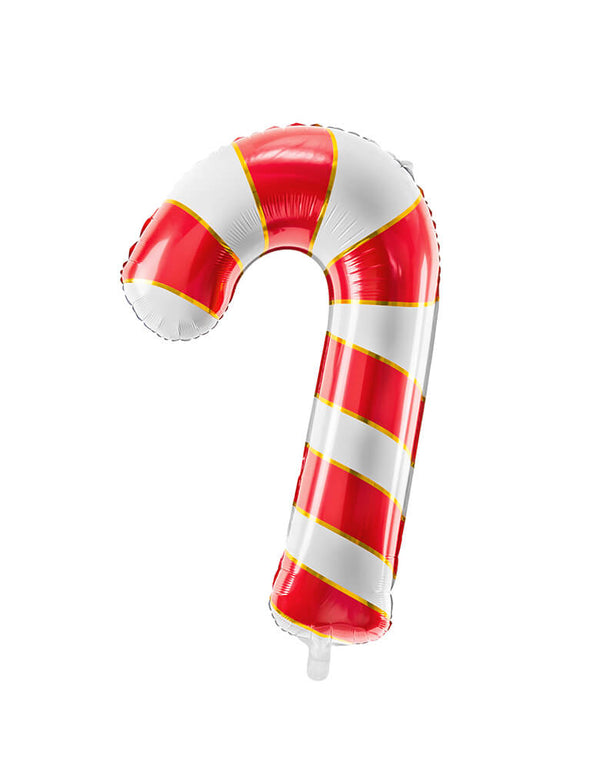 "Party Deco 32"" Red and Gold Candy Cane Foil Mylar Balloon for A Christmas party"
