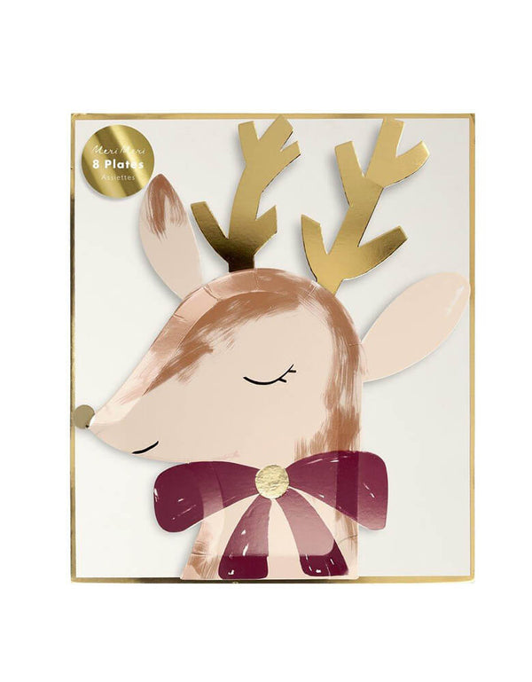 Meri Meri Die-cut Reindeer with Bow Plates in a box for a Christmas celebration